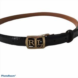 RRL LOGO TRADEMARK Black Croc Belt Italian Leather